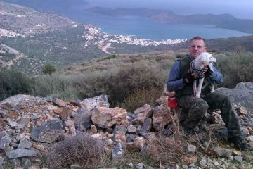 With dog on Crete.